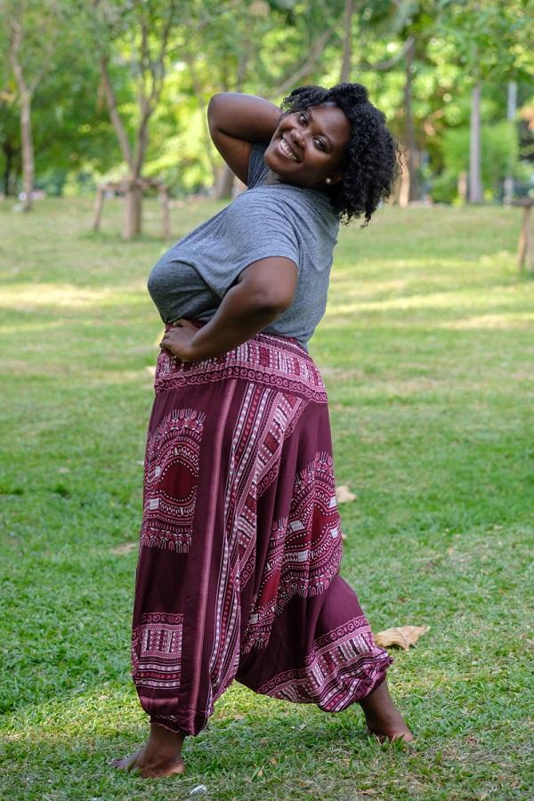 Plus Size Burgundy Thai Hippie Pants
