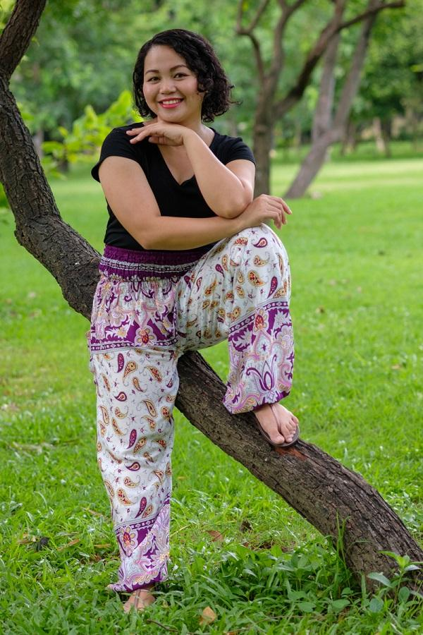 Plus Size Purple Flow Pants