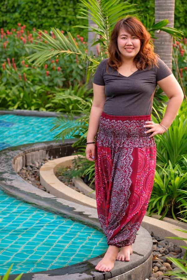 Plus Size Red Blossom Pants