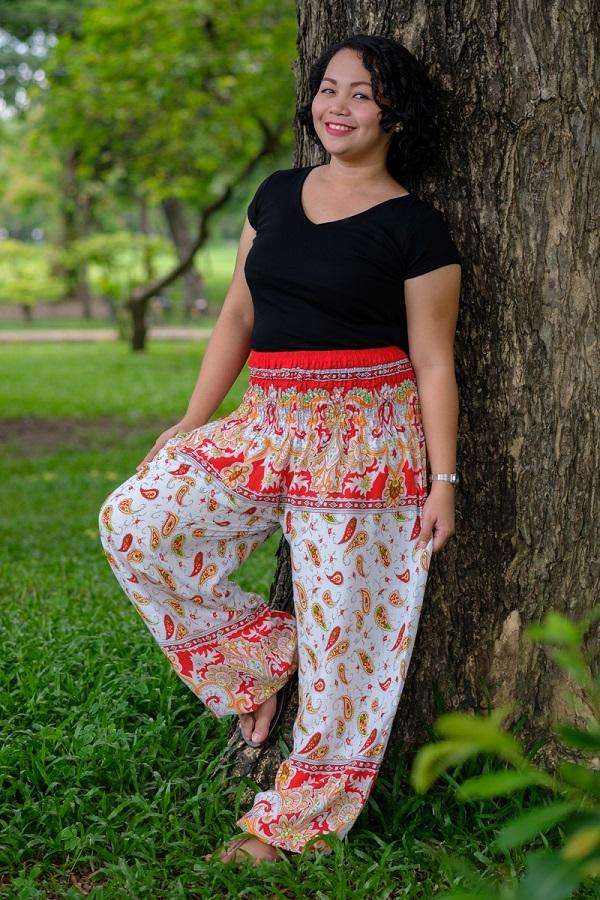 Red Plus Size Flow Pants