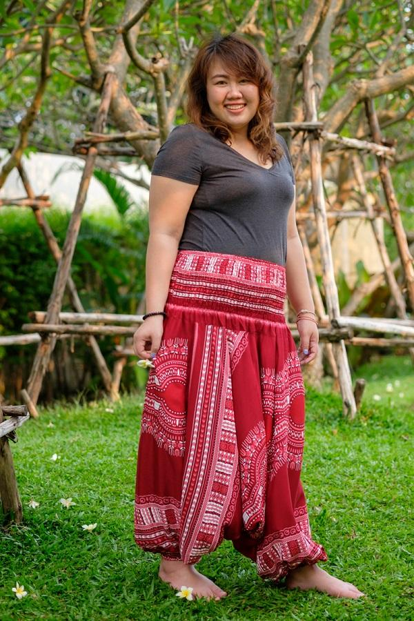 Plus Size Red Thai Hippie PantsPlus Size