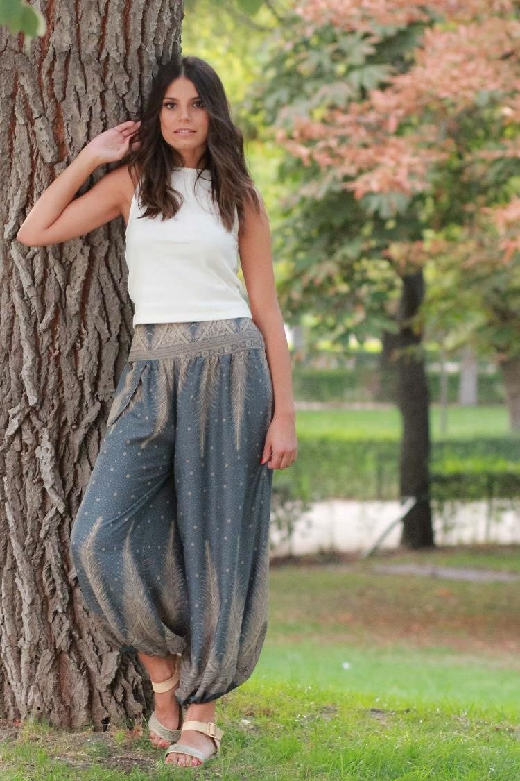 Gray Blue Feather PantsEasy Pants