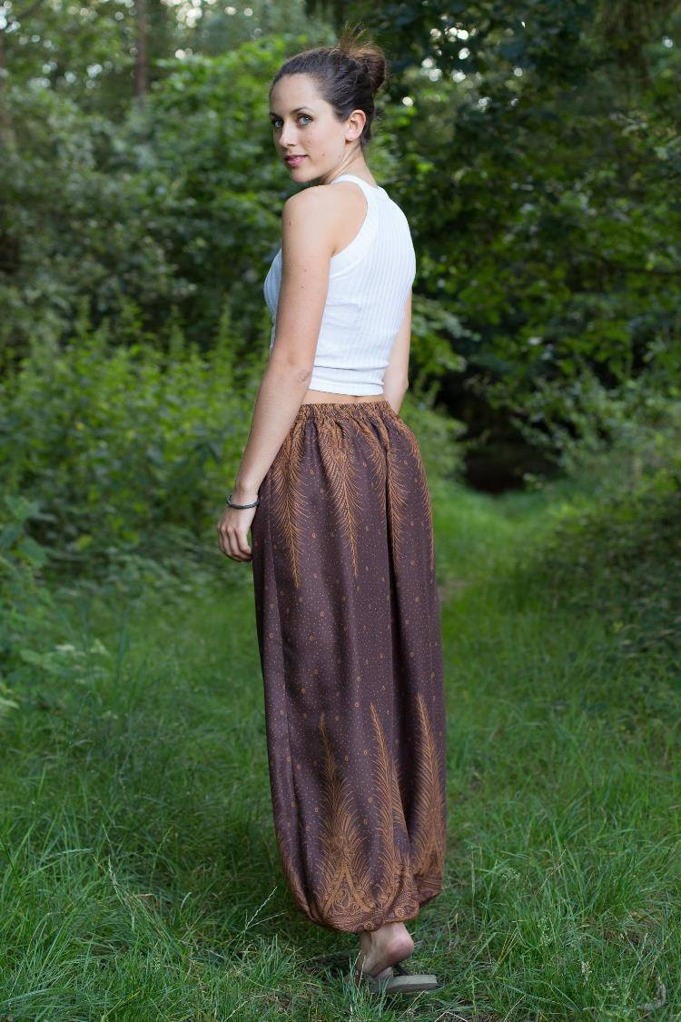 brown feather pants