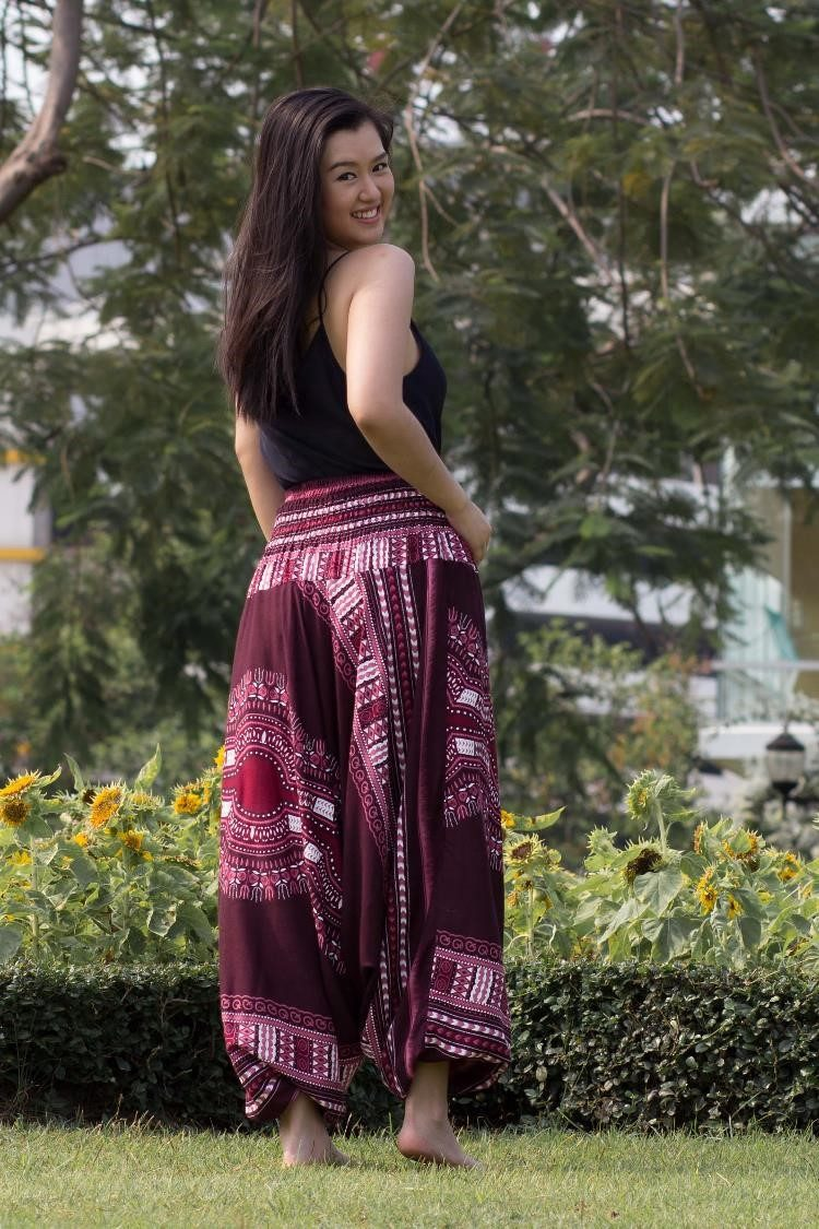 Burgundy Thai Hippie PantsHarem Pants