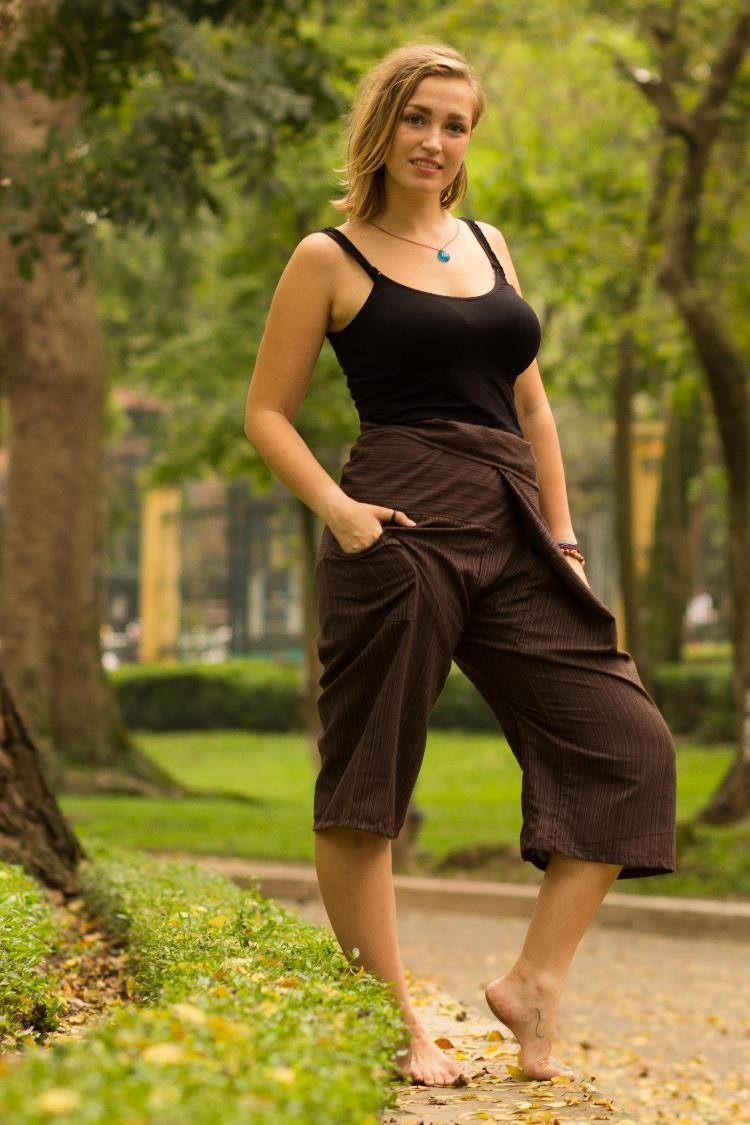 Brown 3/4 Fisherman Pants