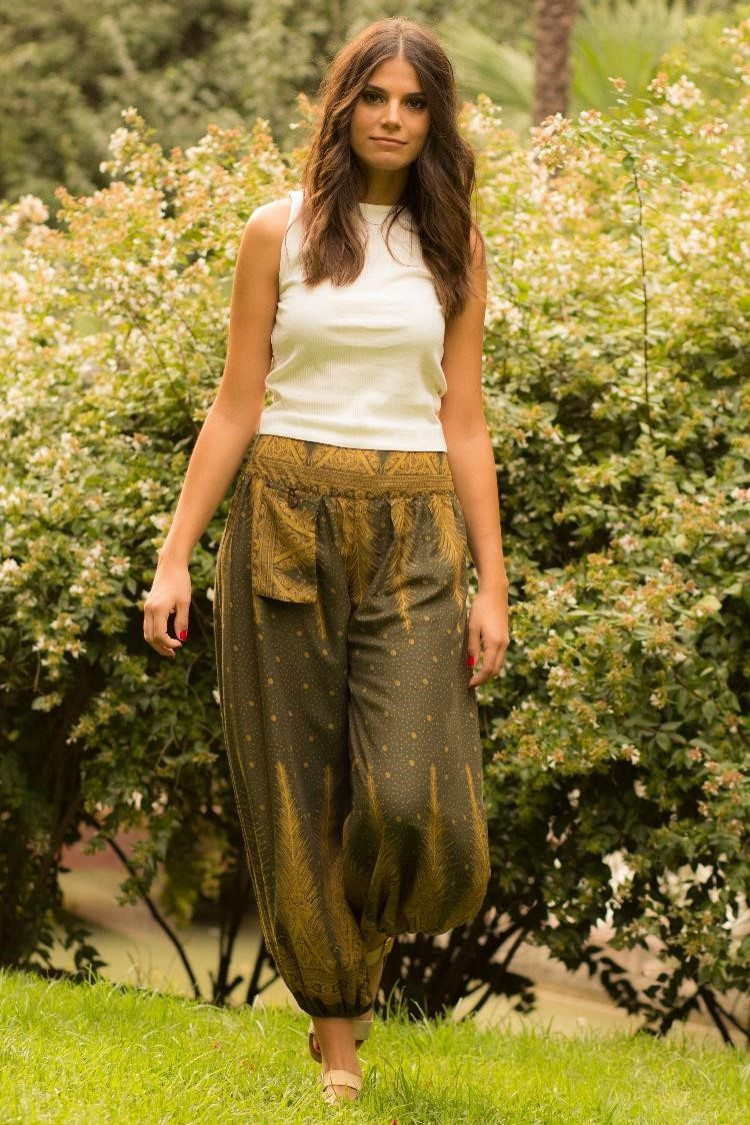 Olive Green Feather PantsEasy Pants