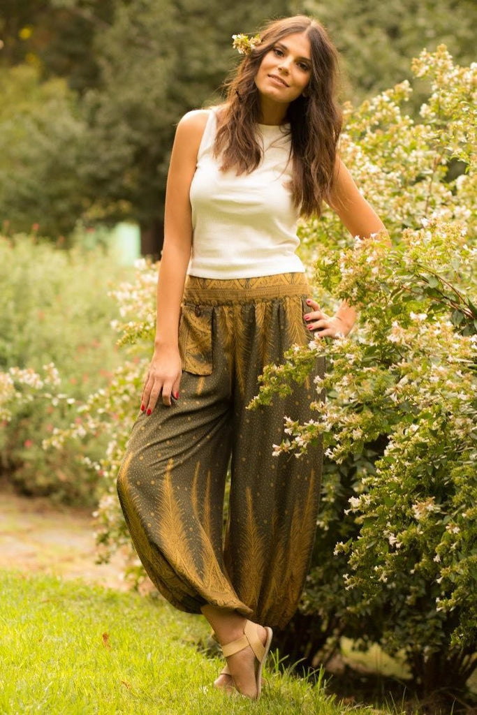 Olive Green Feather Pants