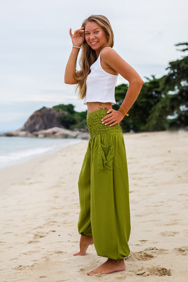 Olive Green Crystal Pants beachwear