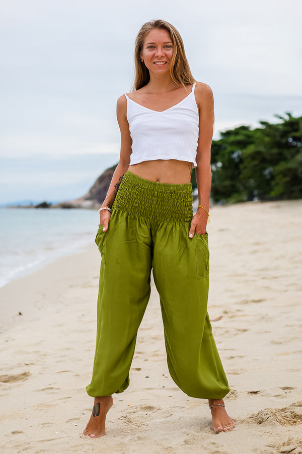 Olive Green Crystal PantsYoga Pants