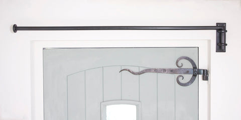 Wrought iron drapery arm face fixed standard bracket