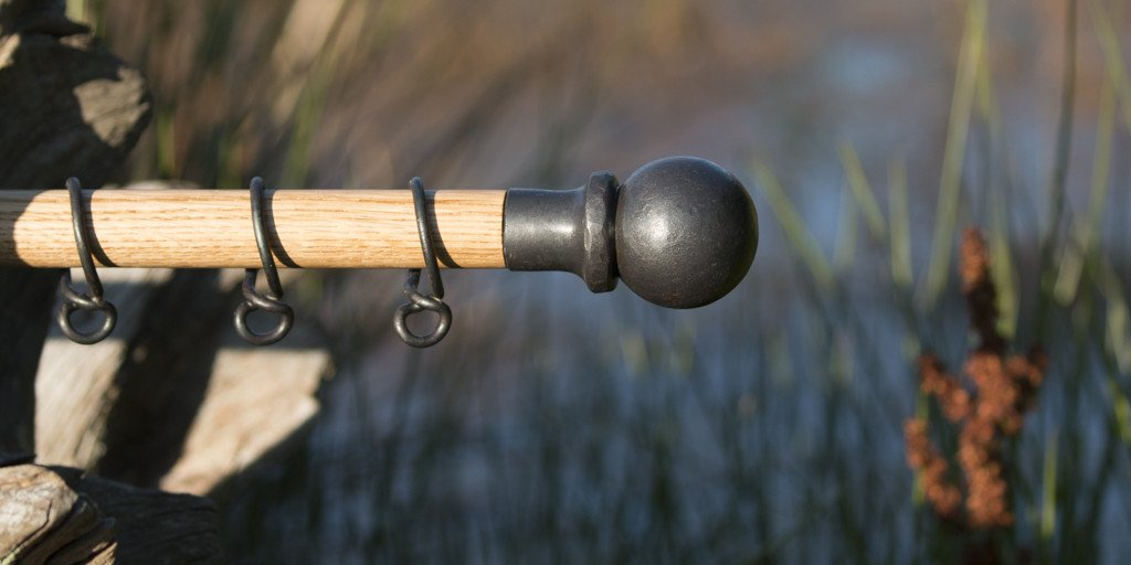 Oak & Wrought Iron Pole with Ball Finials