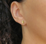 14k gold leaf stud earring