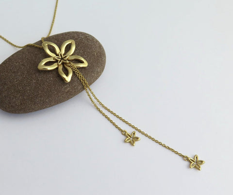 14k gold y necklace, solid gold fine jewelry