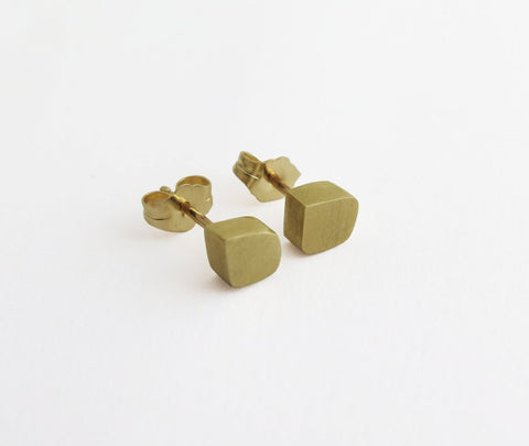 14k gold cube earrings