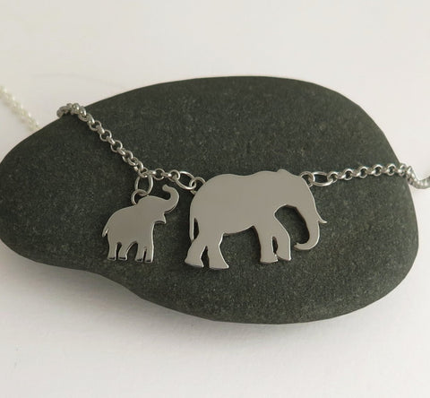 elephant necklace, sterling silver