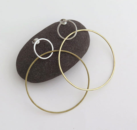 big light circle earrings, sterling silver, 9k gold