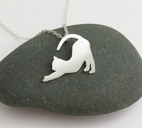 sterling silver cat necklace pendant