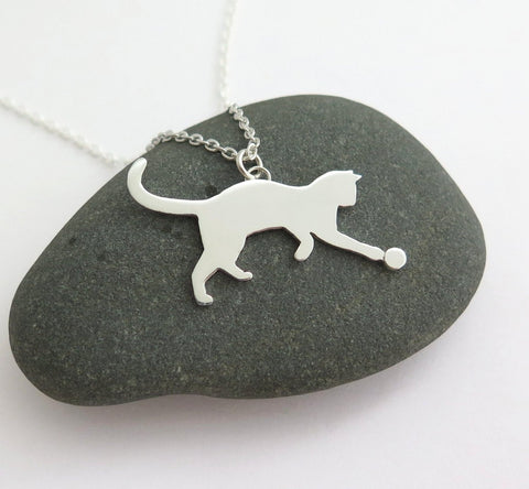 sterling silver playing cat necklace