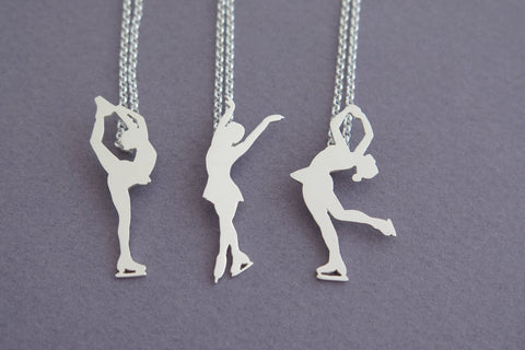 Ice skater pendant necklace sterling silver dalia shamir jewelry figure skating pendant necklace sterling silver aloadofball Gallery