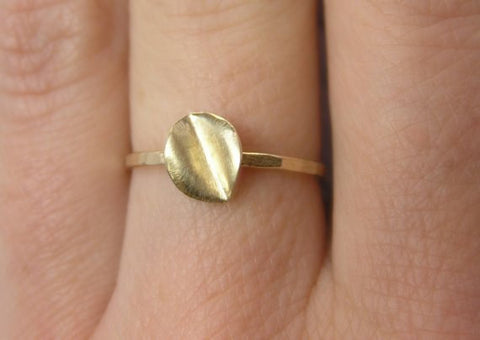 14k gold leaf ring