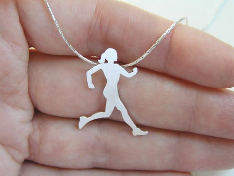 sterling silver running woman pendant necklace