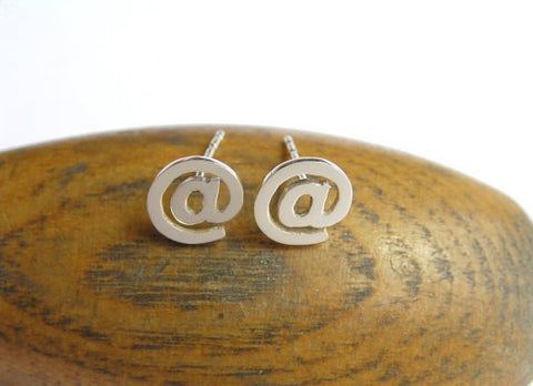 at sign earrings, sterling silver earring