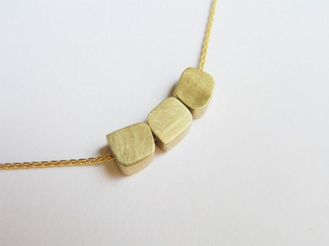 14k gold cubes necklace pendant