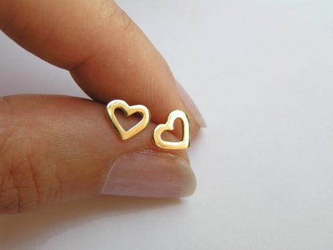 14k gold heart earrings