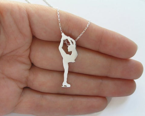 figure skater pendant necklace sterling silver
