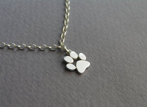 sterling silver paw print anklet