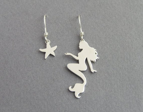 mermaid earrings, starfish earrings