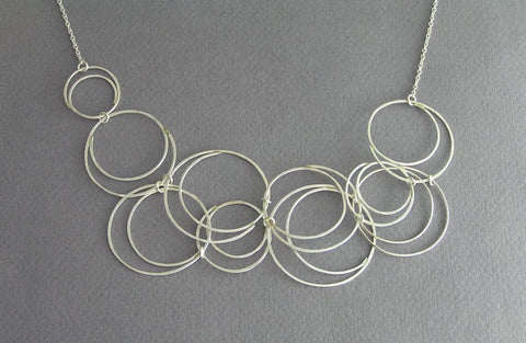 sterling silver wire bib necklace