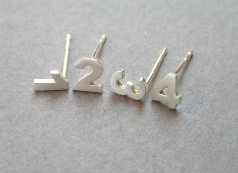 number stud earrings personalized gift