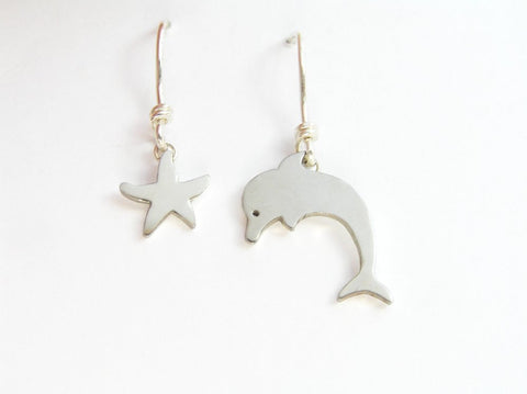 dolphin earrings, starfish dangle earrings