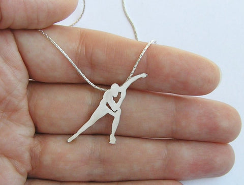 speed skater pendant necklace sterling silver