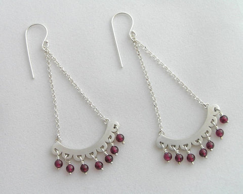 dangle earrings silver & garnet chandelier