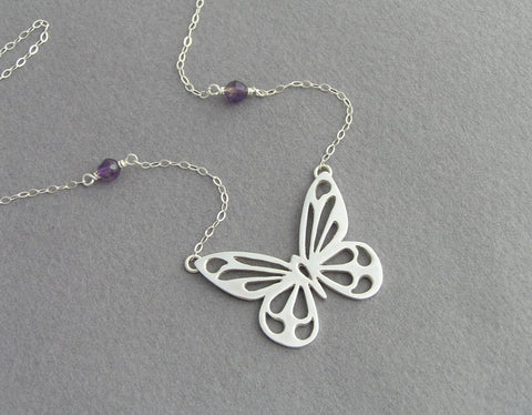butterfly pendant necklace, sterling silver