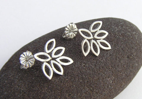 lotus studs earrings, leaf earrings