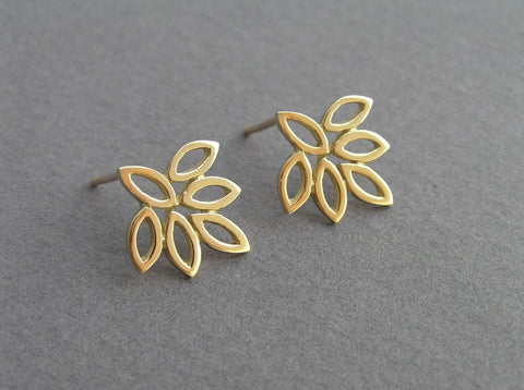 solid 14k gold leaf earrings