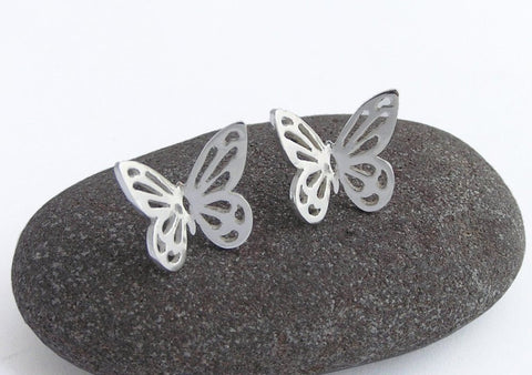 butterfly earrings, sterling silver