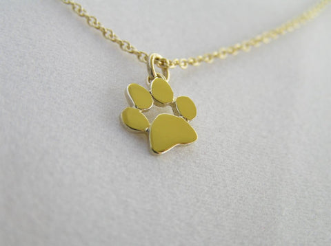 14k gold paw print pendant necklace animal lover gift dalia 14k gold paw print necklace gold dog paw cat paw aloadofball Images