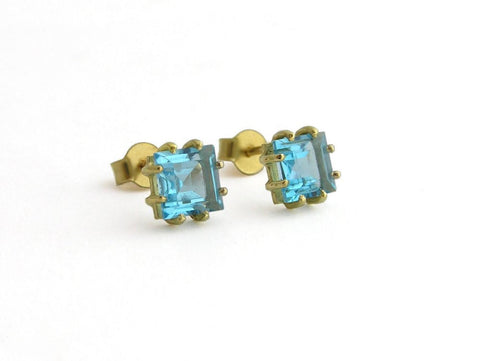 14k gold earrings, blue topaz stud earrings