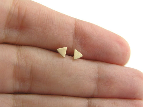 tiny triangle earrings 14k gold