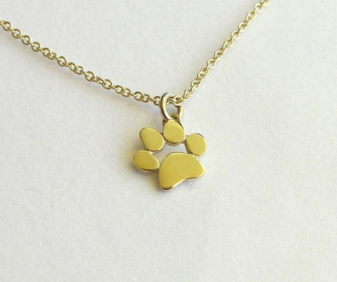 14k gold paw print necklace