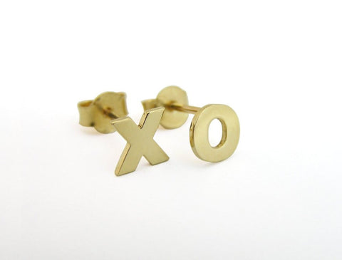 14k gold xo earrings