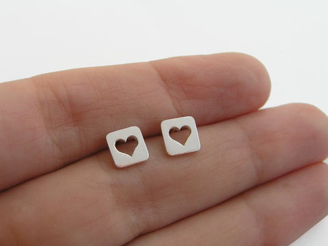 heart earrings, square studs, sterling silver