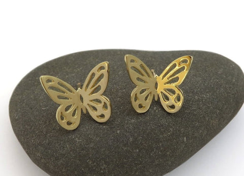 14k gold butterfly earrings