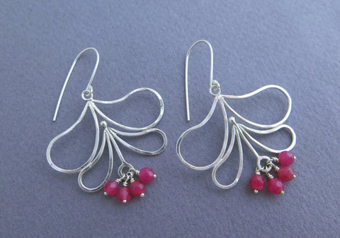 big dangle earrings, sterling silver