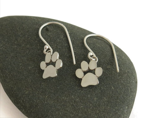 sterling silver dangle cat paw print earrings