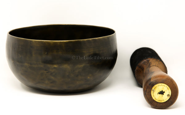 Dark gold lotus Flower of Life Hand Hammered Singing Bowl close up